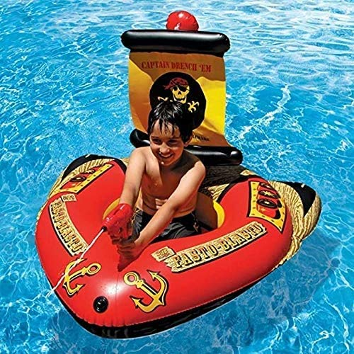 Zomer Portable Lounger Pool Float Pirate Ship Opblaasbare Mount Toy Seat Ride Automatische pomp Zwembad Water Play Center