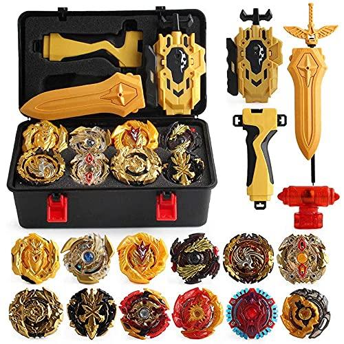 3T6B 12 Stück Kampfkreisel Set, Kreisel mit 2 Burst Turbo Launcher,Bay Battling Tops Arena Spielzeug, Gyro Pocket Box Pro (Gold)