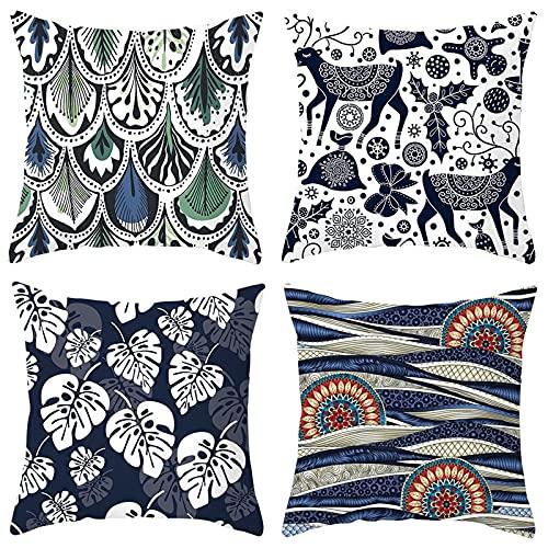 Agoble 4Pcs Federa Cuscino Bianco Scuro Motivo Floreale Con Foglie di Cervo Mandala, Poliestere Cuscini Decorativi Letto 50x50cm/20x20 Inches