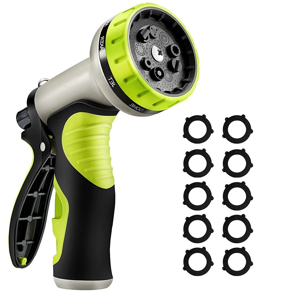 VicTsing Upgraded Version Garden Hose Nozzle,9 Patterns Heavy-Duty Spray Nozzle with 10 Washers,Thumb Control and Slip Resistant TPR Cover for Watering Plants,Washing Cars,and Showering Pets-Green