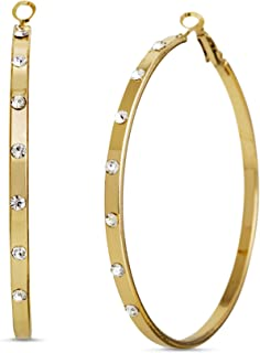 Steve Madden 60mm Rhinestone Large Hoop Earrings for Women