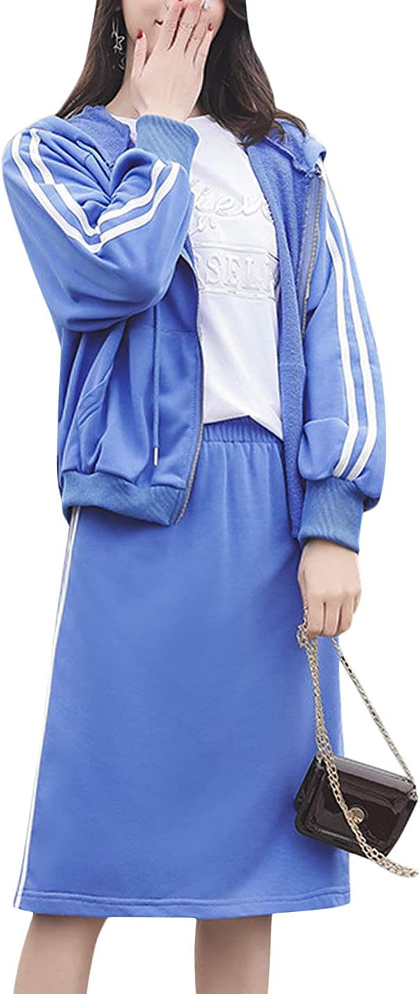 Springrain Women's Two Piece Outfit Sweatshirt Hoodies and Midi Skirt Suit Set