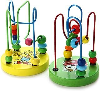 لعبة متاهة الخرز الصغيرة التعليمية المكونة من اسلاك وقطع خرز ملونة - قطعة واحدة، احجية