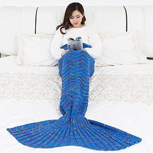 Umeicool Welle Meerjungfrau Decke häkeln Handbuch weich Waage Vier Jahreszeiten Schlafsack Decken Für Kinder oder Erwachsene (Königsblau)