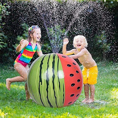 Splash Pad Pelota de Playa sandía Aspersor para niños, Sprinkler Water Toy Inflable Bola de rociado de Agua Jardín al Aire Libre Patio Trasero Césped Splash y Spray Toys para niños pequeños Niños