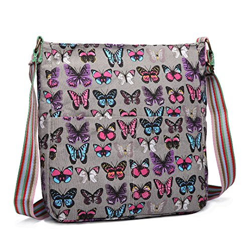Miss Lulu Women Cross Body Bag Canvas Messenger Bags Butterfly Satchel Schoolbag for Girls (Grey)