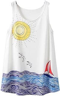 ACVIP Women's Tropical Vacation Style Dacron Tank Top Singlet Shirt