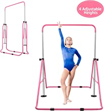 BEEYEO Gymnastics Bar for Kids, Expandable Gym Jr Premium Horizontal Gymnastic Folding Kip Bar Junior Training for Gymnast Beginner Home Training Adjustable Height