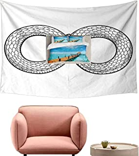 High-end Quality Tapestry Medieval Snake Curled in Infinity Ring Middle Age Masonic Symbol Art Sketch Illustration Occlusion Cloth Painting 80