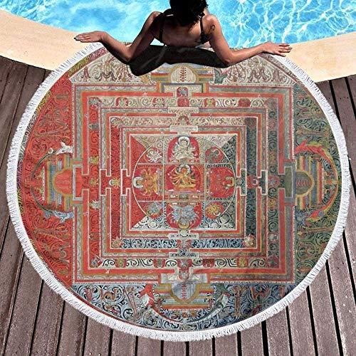 Grand tapis de plage rond,tibétain bouddhiste Manjushri Divinité Mandala Thangka Reproduction,adapté pour les pique-niques intérieurs et extérieurs plage piscine tapis de yoga tapis de table 59