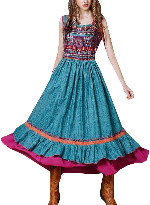 PandapangCA Women Print Medieval Slim Fit Belt Ruffled Ethnic Style Pleated Sundress Maxi Dresses