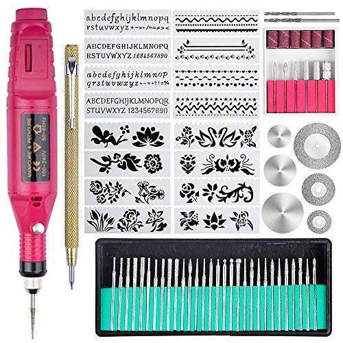 Iwinna 70 PCS Engraving Tool Kit, Multi-Functional Electric Corded Micro Engraver Etching Pen DIY Rotary Tool for Carving Glass, Wood, Metal, Stone, Plastic, Ceramics, Jewelry (UK Plug) (Red)