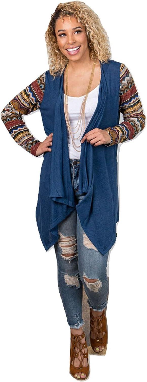 Grace Aztec Serape Hippy Western Cardigan Knit Jacket Fall Sweater Weather Blue