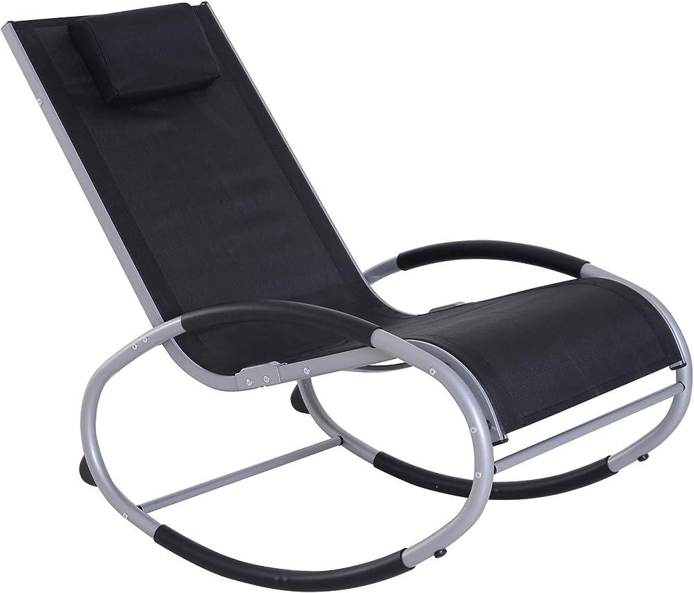 Outsunny sedia a dondolo da giardino telaio in alluminio e tessuto di textilene IT84A-077BK0631