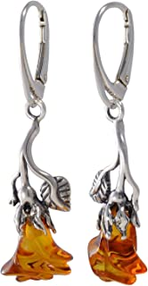 Sterling Silver and Baltic Honey Amber Dangling Earrings