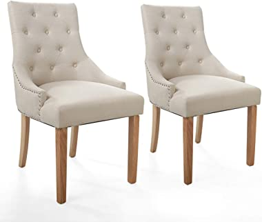 JAXPETY Set of 2 Elegant Fabric Accent Wood Dining Chairs, Upholstered Button Tufted Pattern, Soft Cushion w/Nail Heads for K