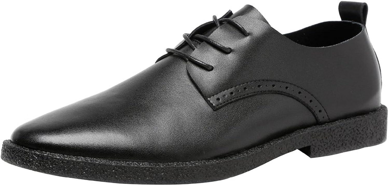 JIALUN-Schuhe Herren Herren Herren Einfache Freizeitschuhe Matte Echtes Leder Müßiggänger Lace Up Atmungsaktive Spitze Oxfords (Farbe   Schwarz, Größe   9MUS)  b51388