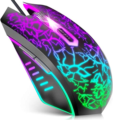 VersionTECH. Wired Gaming Mouse, Ergonomic USB Optical Mouse Mice with Chroma RGB Backlit, 1200 to 3600 DPI for Lapto...