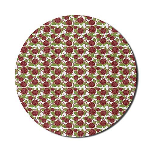 Runde Mausmatte, ziegelfarbenes Mauspad für Computer, romantisches botanisches Muster mit dunklen, rostfarbenen Rosen und Blättern, rundes, rutschfestes modernes Mousepad aus Gummi, hellgrünes und wei