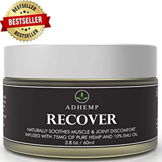 ADHEMP Recover 3.8oz Hemp Pain Relief Cream for Arthritis, Back, Knee, Hands, Neck, Feet, Muscle Soreness, Inflammation, Joints- Pure Hemp, 10% Emu Oil, Arnica- Made in The USA