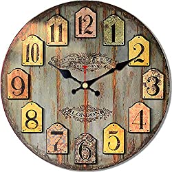 MEISTAR 16 Inch Large Retro Vintage Wooden Wall Clocks,British Countryside Style Simple Colorful Wall Clocks,Arabic Numerals Battery Quartz Wall Clock