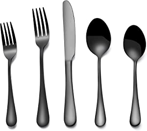 Silverware Flatware Cultery Set, 20-piece Stainless Steel Tableware Eating Utensil Set for 4, Include Spoons Forks Knives, Mirror finish, Dishwasher Safe-Black
