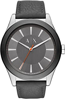 Armani Exchange Men's Nico Stainless Steel Analog-Quartz Watch with Leather Calfskin Strap, Grey, 20.8 (Model: AX2335)