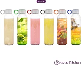 Pratico Kitchen 18oz Leak-Proof Glass Bottles, Juicing Containers, Water/Beverage Bottles - 6-Pack with Multi-Color Loop Caps