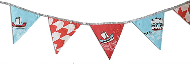 Silverlinen Sea & Ships Cotton Fabric Bunting Triangle Flags Decoration Set (Red & Blue)