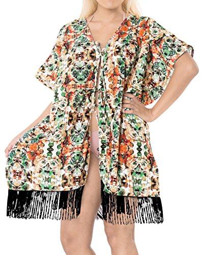 LA LEELA Mujeres Praia de Encaje Corto Kimono Cardigan Ganchillo de La Vendimia Borlas Mini Vestido Exóticas Protector Solar Ropa de Playa Multicolor_A844