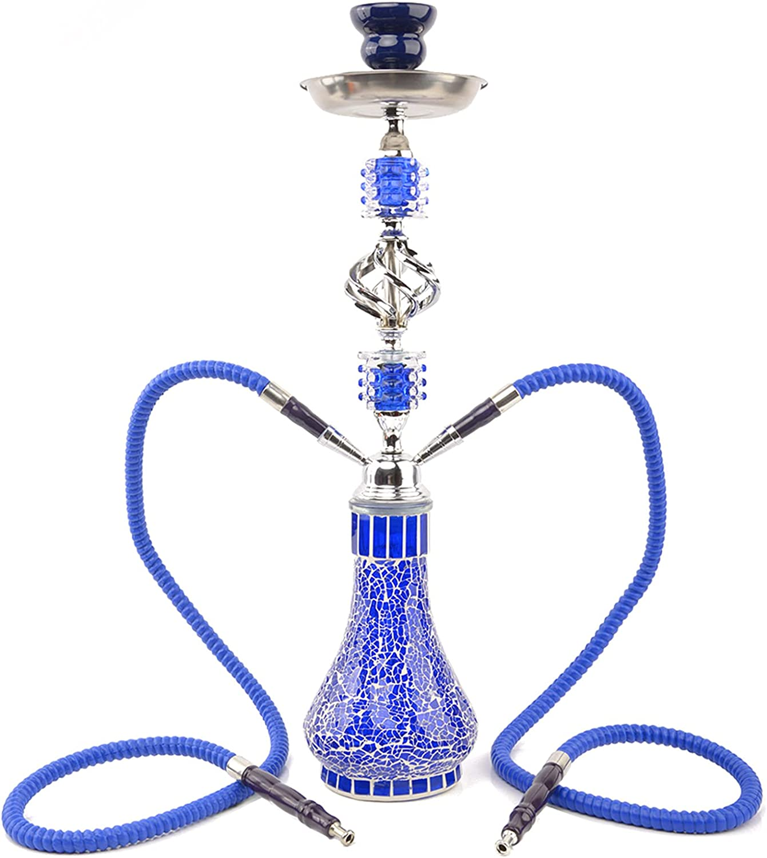 DBGA Hookah, Shisha 55 cm 2 Manguera, Cuerpo de Botella con Jarrón de Vidrio Mosaico, Que Permite Que Dos Personas lo Usen al Mismo Tiempo, Mejora la Experiencia de Fumar