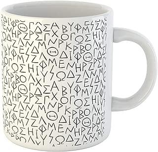 Semtomn Funny Coffee Mug Ancient Greek Letters History Greece Alphabet Historical Manuscript Sign 11 Oz Ceramic Coffee Mugs Tea Cup Best Gift Or Souvenir