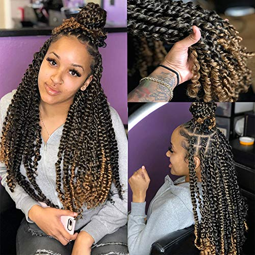 7Packs Ombre Passion Twist Hair Pretwisted Crochet Hair Braiding Water Wave Synthetic Braids Crochet Hair for Passion Twist Bohemian Curly Hair Pre-Looped Passion Twist Hair Exntesions(18inch)
