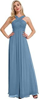 Women's Halter Chiffon Bridesmaid Dresses Long A line Formal Prom Party Gowns