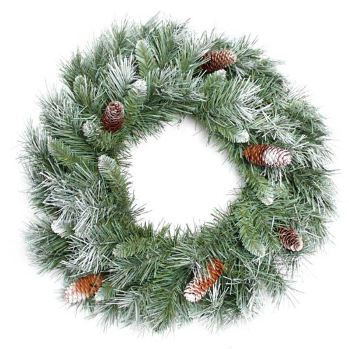 WeRChristmas Scandinavian Blue Spruce Christmas Wreath Decoration with Pine Cones, 50 cm - Large, Green