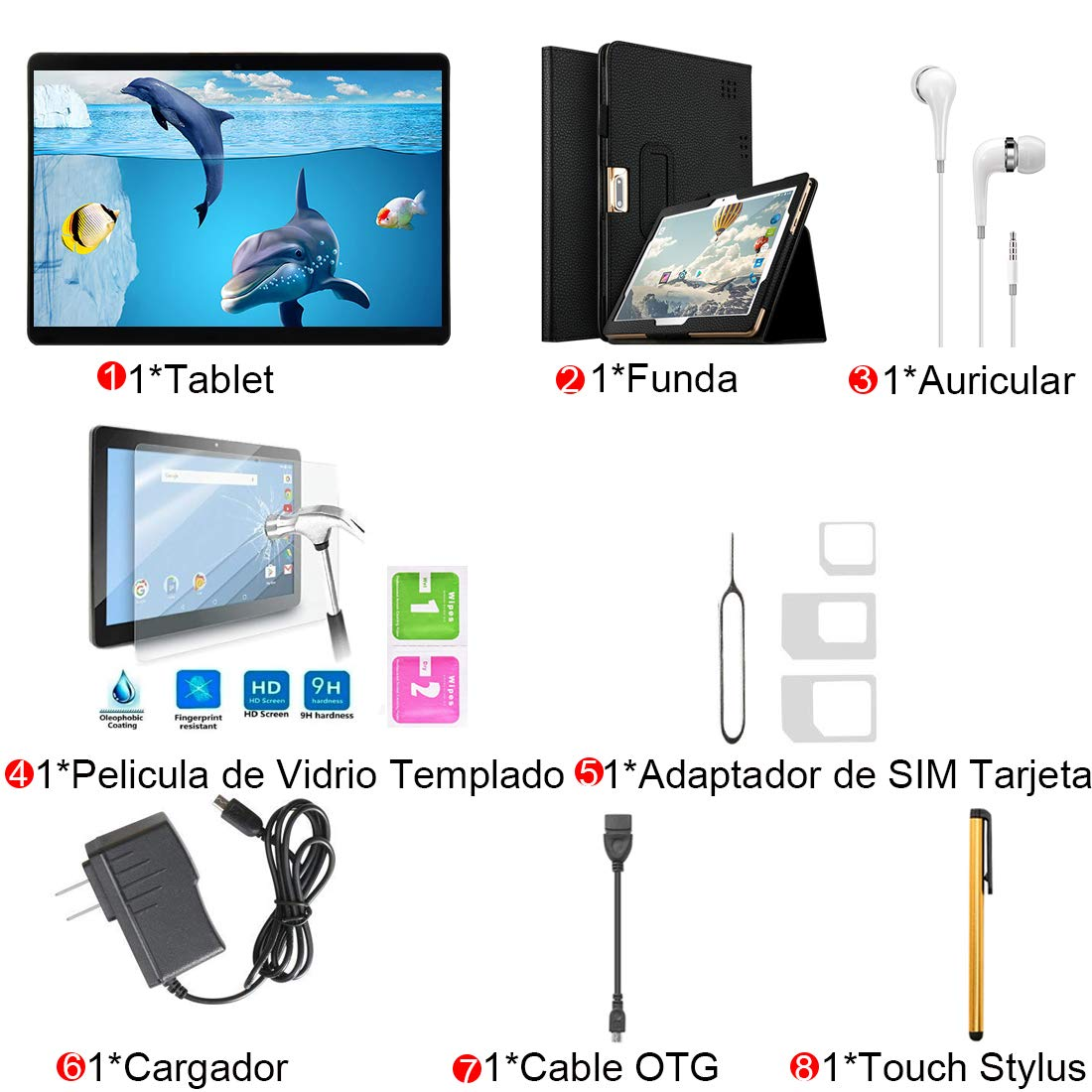 Tablets 10 Pulgadas 4G Dual SIM/WiFi 32GB ROM 2GB RAM (Netflix y Office Están Instalados) Android 7.0 8MP Caméra 7000mAh Batería Bluetooth/OTG Voukou T5 Tablets (Negro): Amazon.es: Informática