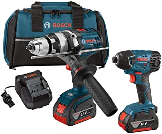 Bosch CLPK222-181-RT 18V 4.0 Ah Cordless Lithium-Ion Brute Tough Hammer Drill and Hex Impact Driver Combo Kit (Renewed)