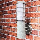 Lámpara de pared exterior de acero inoxidable plateado, aspecto de piedra, diámetro de 8 cm, altura: 33 cm, E27, IP44, para jardín, camino, lámpara de pared