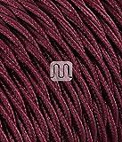 LineteckLED® TRECCIA BORDEAUX Cavo tessile trecciato bordeaux 2x0.75 bobina 10 metri, cav...