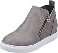 Women's Wedge Sneaker Suede Low Wedges Ankle Boots Side Zip Up High Top Hidden Wedge Snow Boots Fashion LIM&Shop