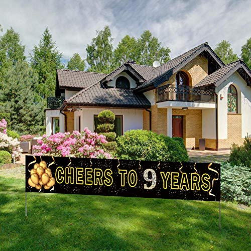 Large Cheers to 9 Years Banner, Black Gold 9th Anniversary Party Sign, 9th Birthday/Anniversary Party Decorations Supplies