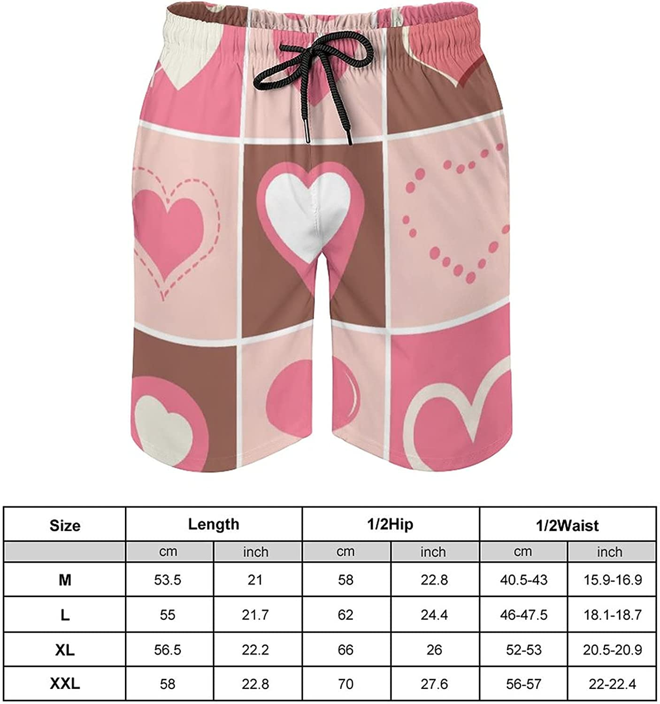 Heart Icons Valentines Day Men's Swim Trunks Quick Dry Soft Beach Shorts Adjustable Waist Swim Board M