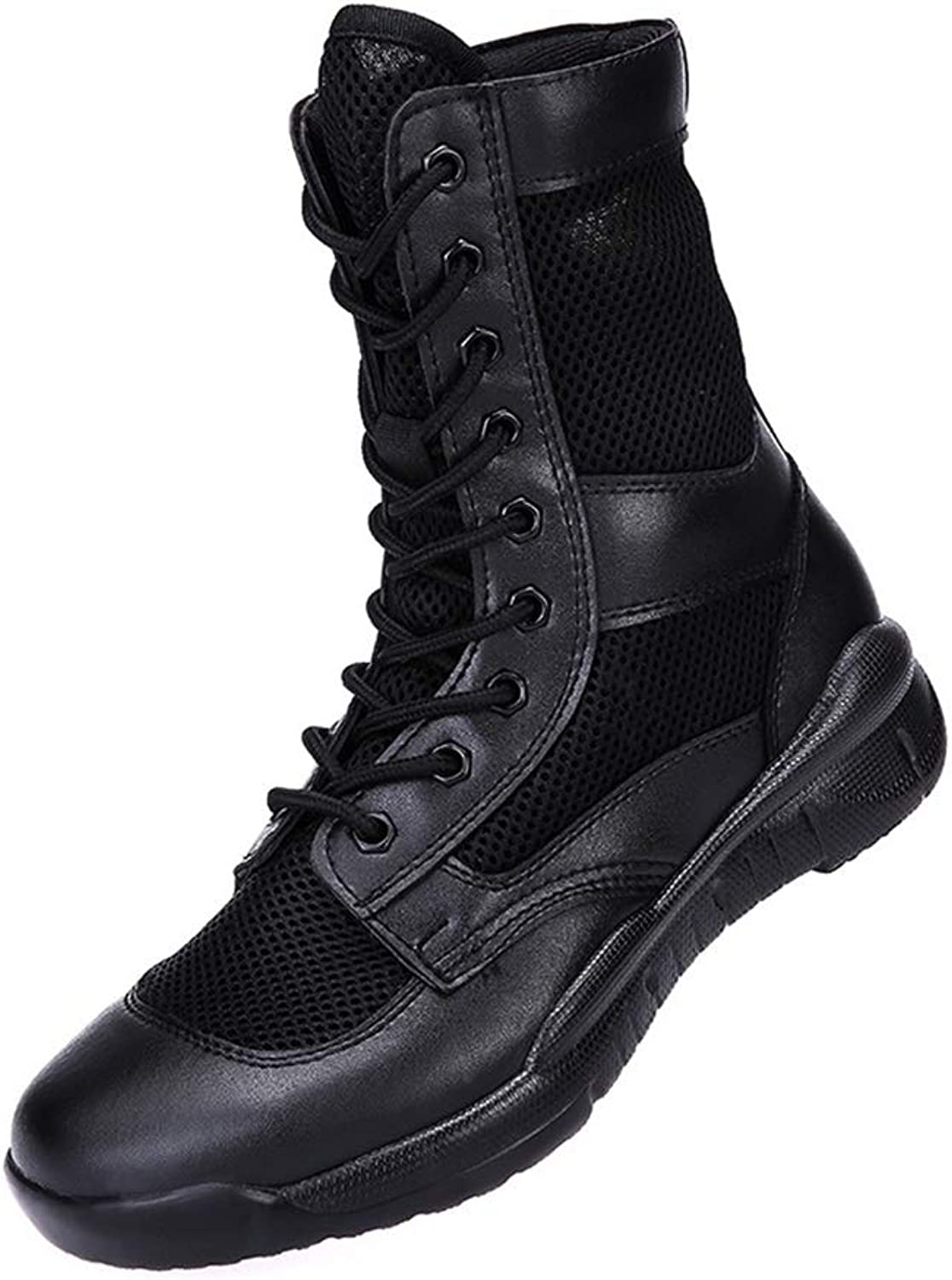 LIUYL men's military Combat Boot Police Security Army boots Summer breathable tactical Boot Work hiking Sports Outdoor shoes,Black-42