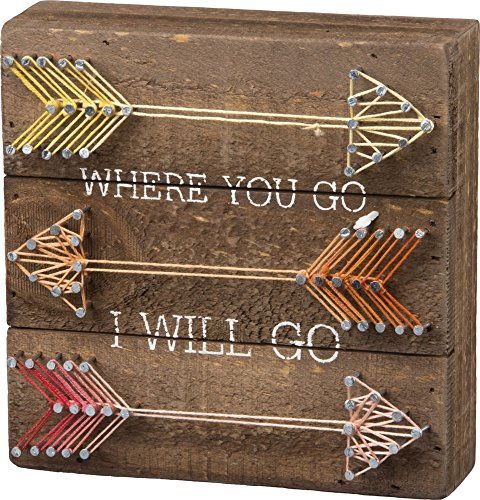 Primitives by Kathy String Art Box Sign, 6 x 6, Where You Go I Will Go