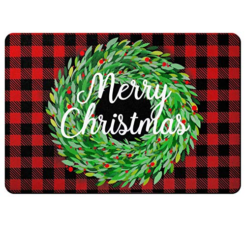 Merry Christmas Buffalo Plaid Rug, 15.7 x 23.6 Inch Christmas Decoration Door Floor Mat, Buffalo Check Plaid Wreath Decorative Doormat, Non Slip Indoor Outdoor Buffalo Check Rug (Black and Red)