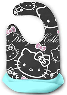 Baby Bib- Stylish Hello Kitty Silicone Baby Bib Removable Unisex Bibs For Toddler Wipe