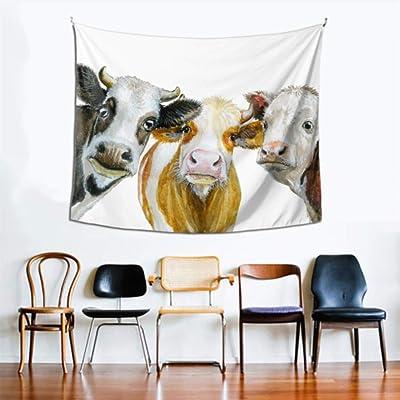 Decoración de la pared colgante Vacas lecheras en blanco y negro Tapiz del techo 60x51 pulgadas (152x130cm) Arte de la pared Decoración del hogar Poliéster para sala de estar Dormitorio Dormitorio
