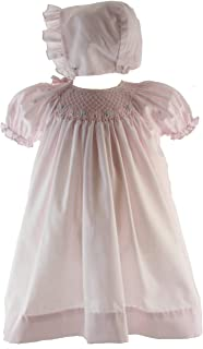 Hiccups Childrens Boutique Girls Pink Smocked Take Home Dress Bonnet Layette