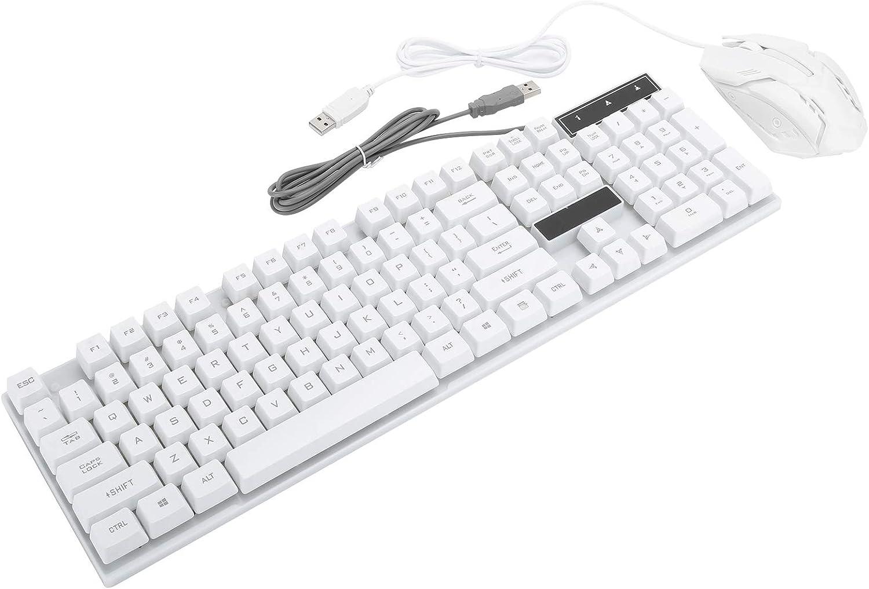 High Sensitivity Personalized Keyboard Mouse Combo Beautiful Wired Keyboard Computer Accessory 104Keys Keyboard for Laptop for Desktop