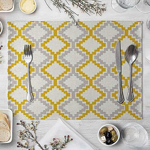 Platzsets Tischset Gelb Schwarz Geometrisches Muster Tischmatte Kreative Tisch Serviette Für Hochzeit Küche Dekor Tischset Esszimmerzubehör 10